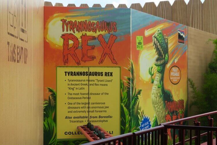 Toy Story's Rex has his own toy box in Toy Story Land, complete with an Al's Toy Barn price tag