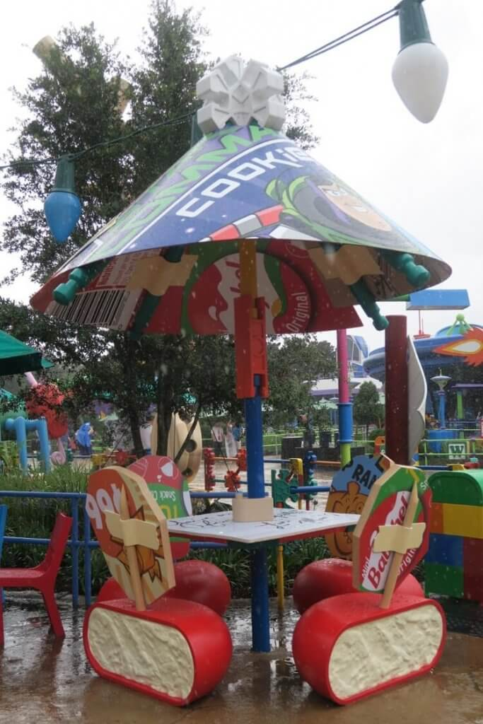 babybel and wrappers make up the tables and chairs at Woody's Andy's lunchbox in tOy story land
