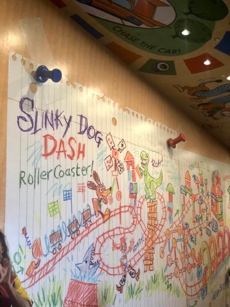 Slinky Dog Dash plans that Andy has made are held up with tape and pushpins, to a box