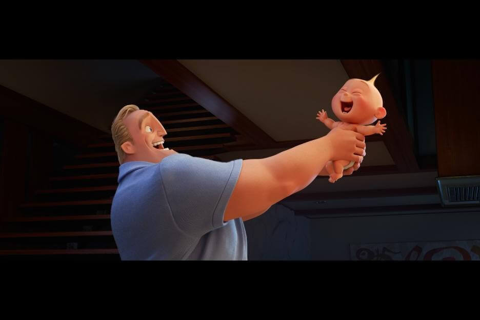 Bob Par (aka Mr. Incredible) bonds with infant son Jack Jack in Incredibles 2