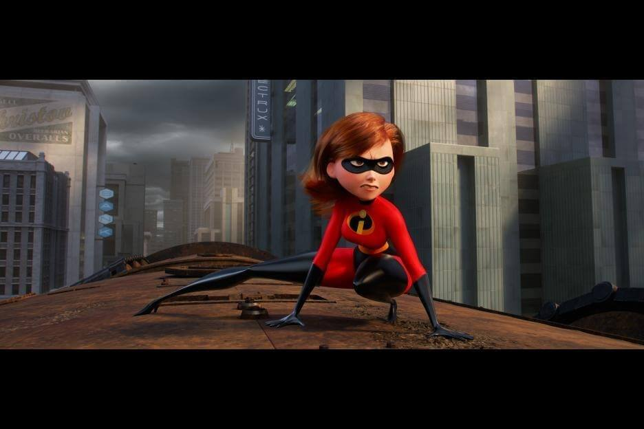 Mrs. Incredible / Helen Parr / Elastigirl on a train in a chase scene in Pixar's Incredibles 2