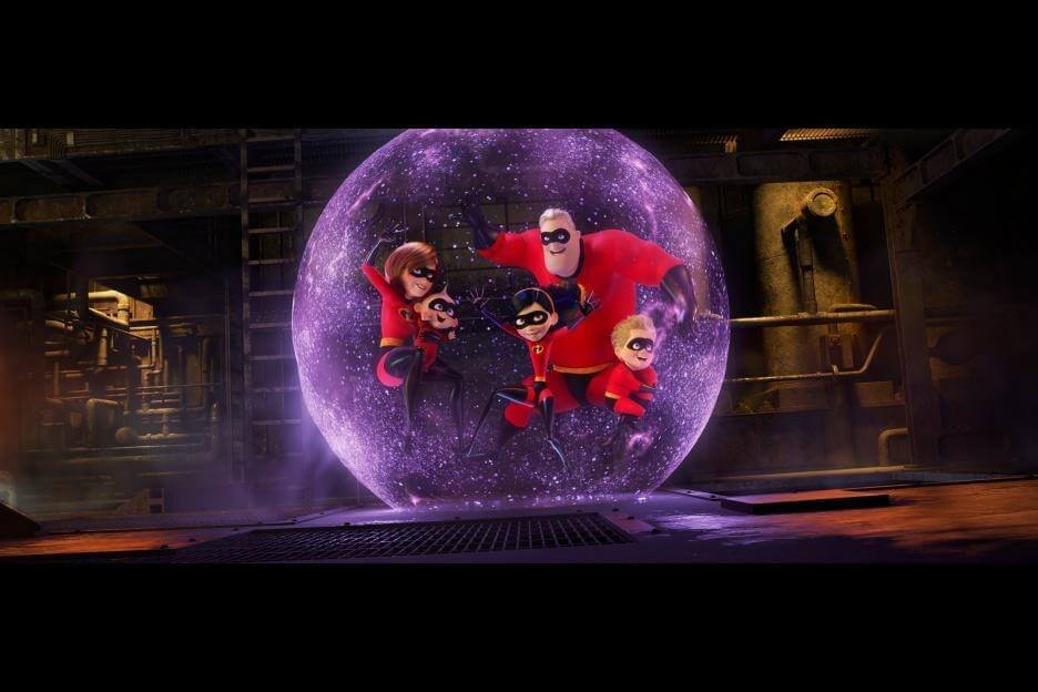 Mr Incredible, Mrs. incredible (Elastigirl), Violet, and Dash are in a force field in the newest Pixar movie, Incredibles 2