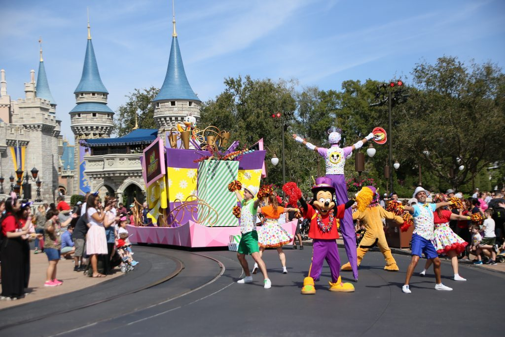 move it shake it mouskedance it street party in front of cinderella castle in Walt disney world's magic kingdom