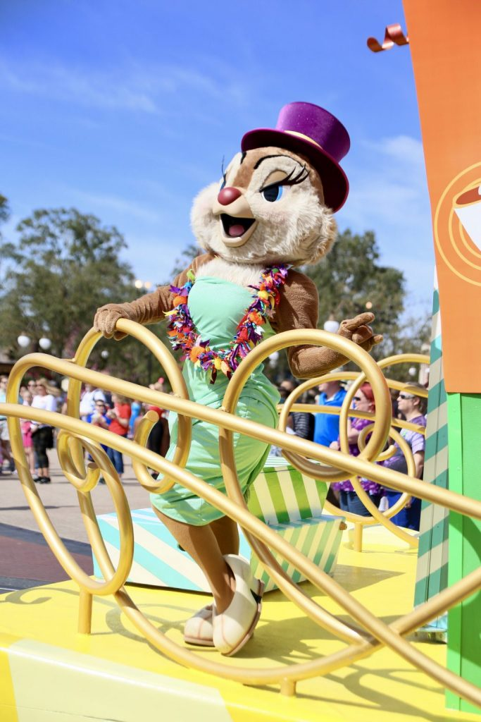 Clarice chipmunk disney character on a parade float