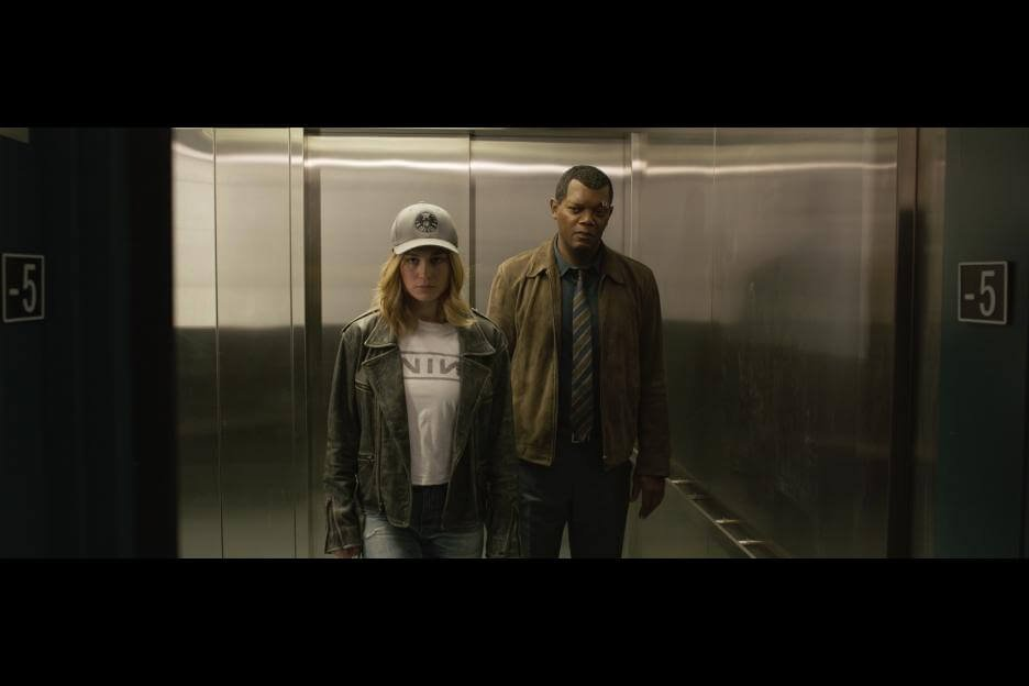 carol danvers in street clothes with a young nick fury, in the latest Marvel film CAPTAIN MARVEL