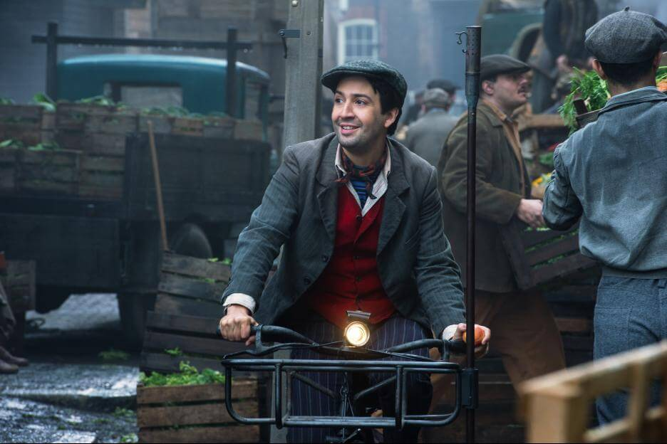 Lin-Manuel Miranda on a bicycle a leery Jack in Mary Poppins Returns