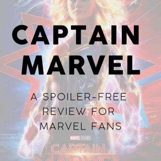 captain marvel poster with review title page on top