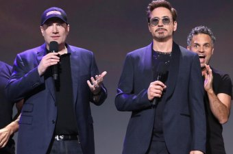 Robert downey jr, kevin feige, and Marc Ruffalo at the D23 Expo convention; Downey to receive 2019 Disney Legends Award