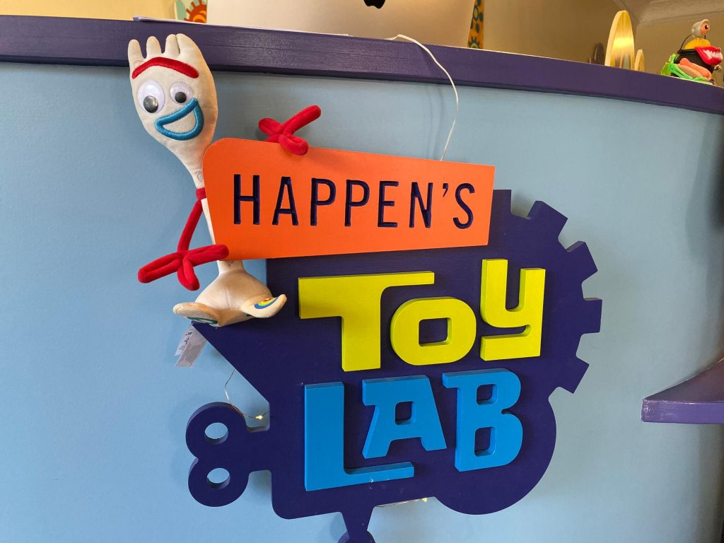 Forky plush posing with happens toy lab in Cincinnati Ohio - where guests upcycle toys to make their own new creations