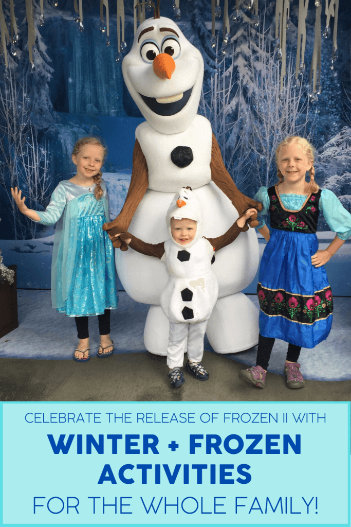 Three kids dressed as Anna, Olaf, and Elsa pose with Olaf at Disney's California Adventure at the Disneyland Resort. Winter family activities shared to celebrate the release of Frozen II.