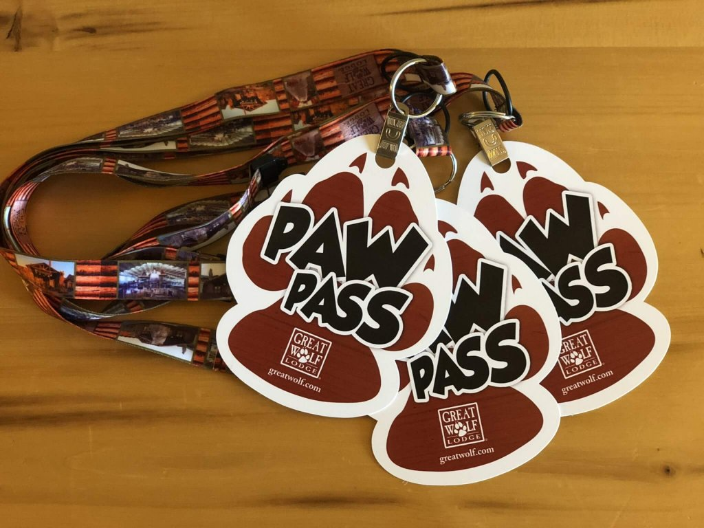 paw pass keychains/lanyards from Great Wolf Lodge