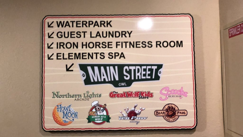 a sign at the Great Wolf Lodge Mason event