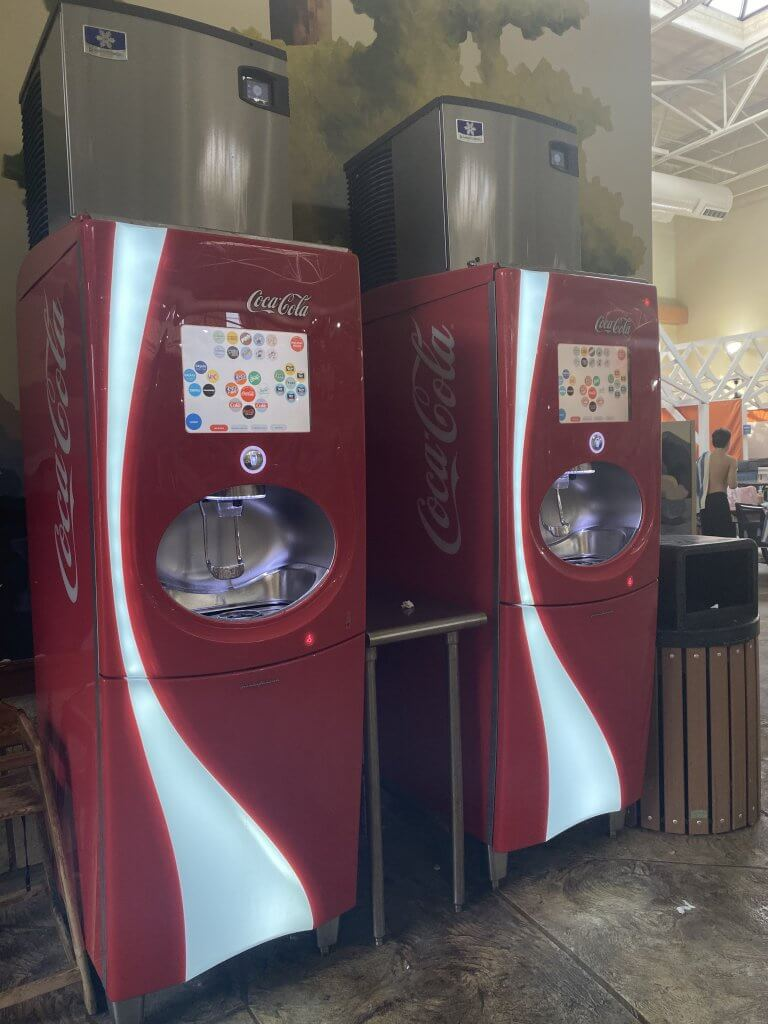 two coca-cola freestyle machines outside of the Buckets counter service restaurant inside the Great Wolf Lodge waterpark